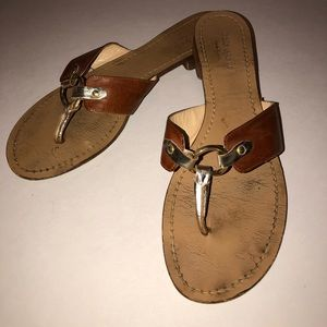 KATE SADE brown leather flat sandals